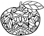 pomme fruit mandala dessin à colorier