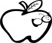 pomme avec un ver de terre dessin à colorier