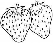 deux fruits fraises fragaria dessin à colorier