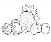 fraise framboises et myrtilles dessin à colorier