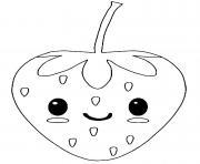fruit fraise kawaii dessin à colorier