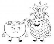 ananas boit une boisson de noix coco dessin à colorier