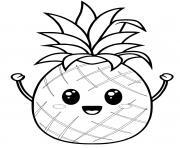 ananas kawaii dessin à colorier