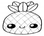 fruit ananas kawaii adorable dessin à colorier