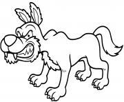 loup fache et agressif dessin à colorier