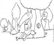 loup auzou fait une lecture dans un parc dessin à colorier
