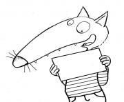 loup auzou avec une carte dessin à colorier