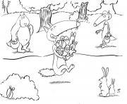 loup auzou paques oeufs et lapins dessin à colorier