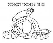 loup mois octobre dessin à colorier