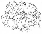 petit loup auzou celebre une fete avec ses amis animaux dessin à colorier