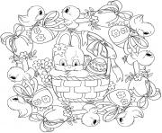 mandala paques avec panier de lapin et poussins oeufs de paques par Lesya Adamchuk dessin à colorier