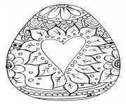 oeuf de paques mandala motifs coeur fleurs dessin à colorier