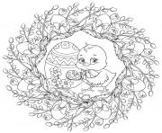 un pousssin peint un oeuf de paques mandala par Lesya Adamchuk dessin à colorier