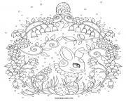 adorable lapin de paques mandala adulte dessin à colorier