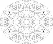 mandala paques lapins et oeufs facile maternelle dessin à colorier