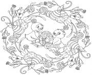 paques mandala adulte deux poussins par Lesya Adamchuk dessin à colorier