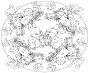 paques mandala avec deux lapins oeufs de paques et abeilles par Lesya Adamchuk dessin à colorier