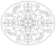 paques mandala oeufs fleurs enfants facile dessin à colorier