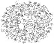 lapin avec un panier oeufs de paques mandala par Lesya Adamchuk dessin à colorier