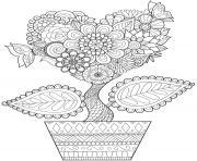 mandala adulte pot de fleurs petit arbre nature dessin à colorier