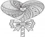 mandala coeur motifs fleurs adulte dessin à colorier