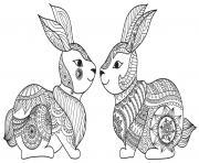 paques mandala lapins dessin à colorier