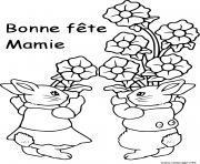 bonne fete des mamies lapins avec fleurs dessin à colorier