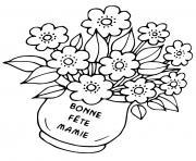 fete des mamies pot de fleurs dessin à colorier