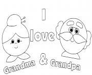 i love grandma et grandpa dessin à colorier
