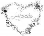 coeur fleurs fete des mamies dessin à colorier