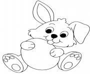 lapin avec un oeuf de paques facile dessin à colorier