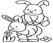 lapins de paques maternelle facile dessin à colorier