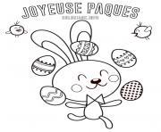 lapin de paques jongleur oeufs facile dessin à colorier