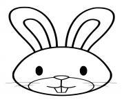 paques tete de lapin facile dessin à colorier