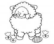 mouton de paques avec un oeuf et une rose facile dessin à colorier