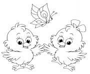 deux poussins avec un papillon dessin à colorier