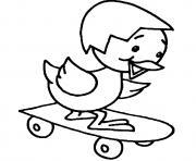 poussin fait de planche skateboard dessin à colorier