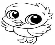 jeune poussin kawaii dessin à colorier