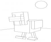 minecraft poule dessin à colorier