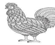 poule mandala zentangle dessin à colorier