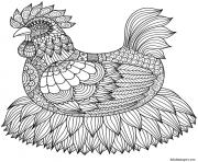 poule sur nid adulte mandala dessin à colorier
