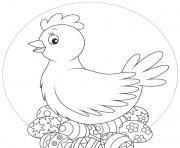 oeufs de poule pour paques dessin à colorier