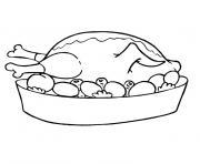 plat poulet roti petits legumes dessin à colorier