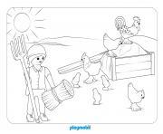 playmobil a la ferme avec poules dessin à colorier