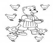 Petit Ours Brun donne a manger aux poules dessin à colorier