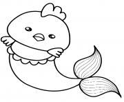 poulet sirene mignon kawaii dessin à colorier