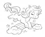 coloriage licorne saute sur un arc en ciel