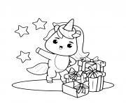 licorne recoit des cadeaux dessin à colorier