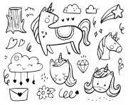 licornes nuages etoiles monde de princesse dessin à colorier