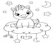 bebe licorne heureux assis sur un nuage dessin à colorier